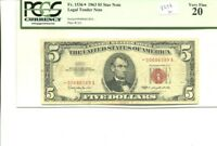 1963 $5 RED SEAL CURRENCY STAR NOTE PCGS VF20