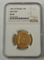 RUSSIA   1897 AT   GOLD 15 ROUBLES   WIDE RIM   NGC XF 45