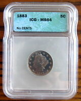 UNITED STATES - LIBERTY NICKEL 5 CENTS 1883 KM 111, SLABBED ICG MINT STATE 64