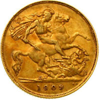 AA6248  GREAT BRITAIN 1/2 SOVEREIGN 1909  EDWARD VII. 1901 1