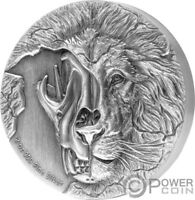 ASIATIC LION SKULL BEASTS SKULL 2 OZ SILVER COIN 5$ NIUE 201