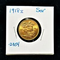 1918 GOLD SOVEREIGN GEORGE V ST. GEORGE BOMBAY INDIA GOLD CO