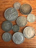 10 ASSORTED OLD WORLD FOREIGN SILVER COIN 1917 AND UP LOT 2