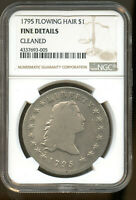 1795 FLOWING HAIR SILVER DOLLAR 3 LEAVES NGC FINE DETAILS,CLEANED
