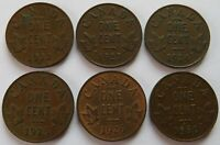 CANADA 1922/23/24/25/26/30 SMALL CENTS CANADIAN BETTER DATE