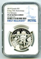 2019 $1 CANADA SILVER DOLLAR 75TH D DAY NGC PF69 UCAM PROOF