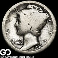1916 D MERCURY DIME HIGHLY COVETED LOW MINTAGE DENVER ISSUE