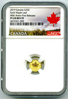 2019 CANADA G25C GOLD 40TH ANNV MAPLE LEAF NGC PF69 REVERSE