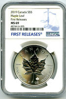 2019 $5 CANADA 1 OZ SILVER MAPLE LEAF NGC MS69  FIRST RELEAS