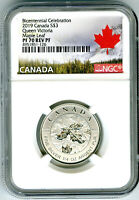 2019 $3 CANADA 1/4 OZ NGC PF70 SILVER MAPLE LEAF QUEEN VICTO