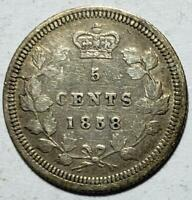 CANADA 5 CENTS 1858 FINE LARGE DATE RE ENGRAVED SCARCE .0346