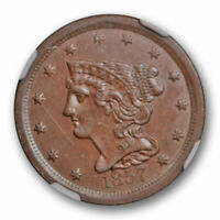 1857 BRAIDED HAIR HALF CENT NGC MINT STATE 62 UNCIRCULATED KEY DATE ORIGINAL