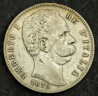 1879 KINGDOM OF ITALY UMBERTO I.LARGE SILVER 5 LIRE COIN.  F VF  ROME MINT