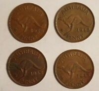 4 AUSTRALIAN PENNY ASST. 1938 1942 2X1943 CIRCULATED COINS L