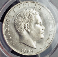 1899 KINGDOM OF PORTUGAL CHARLES I. LARGE SILVER 1000 REIS COIN. PCGS MS 63