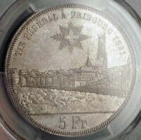 1881 SWITZERLAND FRIBOURG. SILVER SHOOTING THALER  5 FRANKEN  COIN. PCGS MS62