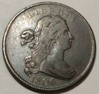 1806 DRAPED BUST US HALF CENT. EXTRA FINE -AU, LIGHT SCUFFINESS. SMALL 6, STEMLESS.