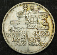 1930 POLAND  2ND REPUBLIC . LARGE SILVER 5 ZLOTYCH COIN. REVOLUTION CENTENNIAL