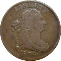 1804 DRAPED BUST HALF CENT--LOVELY FINE--CR4, STEMS