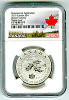 2019 $4 CANADA 1/2 OZ NGC PF70 SILVER MAPLE LEAF QUEEN VICTO