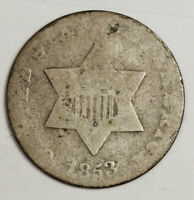 1853 3 CENT SILVER.  CIRCULATED.  135297