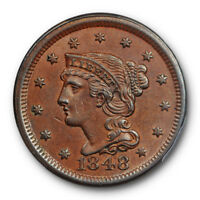 1848 1C BRAIDED HAIR LARGE CENT PCGS MINT STATE 63 BN UNCIRCULATED SHARP BROWN