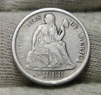 1868S  SEATED LIBERTY DIME, 10 CENTS. KEY DATE ONLY 260,000 MINTED,  8071