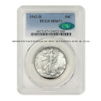 1942-D 50C WALKING LIBERTY PCGS MINT STATE 67 CAC CERTIFIED SILVER HALF DOLLAR GEM COIN