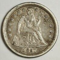 1857-O SEATED LIBERTY DIME.  NATURAL UNCLEANED.  X.F.  135388
