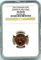 2012 CANADA CENT NGC MS68 RD MAGNETIC STEEL HIGH GRADE LAST