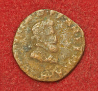 1593 ROYAL FRANCE HENRY IV. COPPER DOUBLE TOURNOIS COIN. CORRODED VG F