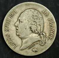 1821 FRANCE LOUIS XVIII  2ND RESTORATION . LARGE SILVER 5 FRANCS COIN. VF