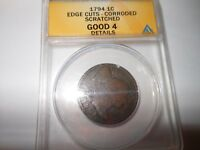 1794 LARGE CENT ANACS GOOD4 DETAILS