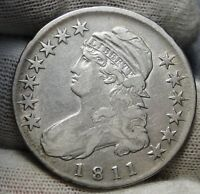 1811 CAPPED BUST HALF DOLLAR 50 CENTS -  OLD COIN, SHIPS FREE 6814