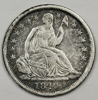 1840 SEATED LIBERTY HALF DIME.  W/D. LONG PLANCHET CRACKS REVERSE  EXTRA FINE .  124639