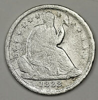 1838 SEATED LIBERTY HALF DIME.  V.F. DETAIL.  99499