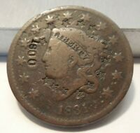 1831 - LARGE CENT - CORONET HEAD - 15 FIVE POINTED STARS - COUNTERSTAMPED 1800