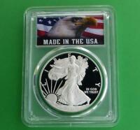 2012 W PCGS PROOF 70 DEEP CAMEO AMERICAN SILVER EAGLE DOLLAR, MADE IN USA LABEL