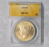 1925 ANACS MINT STATE 63 PEACE SILVER DOLLAR, MINT STATE 63 SILVER $1 COIN, GOLD COLOR TONE
