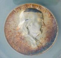 1957 ANACS PROOF 66 FRANKLIN SILVER HALF DOLLAR, GEM PF 66 COIN,  COLOR TONE