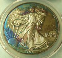 2011 PCGS MINT STATE 67 SILVER EAGLE $1 FROM 25TH ANNIV. SET BLUE & PURPLE COLOR TONE
