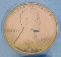 1961 ANACS PROOF 64 RED LINCOLN MEMORIAL CENT, PF64 RED, GREEN COLOR TONE