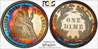 1881 10C SEATED LIBERTY DIME PCGS PR 63 CAM TONED COLORFUL CAMEO BEAUTY