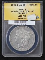 1900 MORGAN DOLLAR ANACS AU-55 VAM-24 DOUBLE DIE REVERSE TOP 100