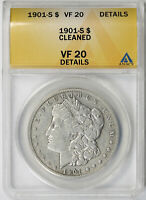 1901-S MORGAN DOLLAR $1 VF 20 DETAILS ANACS