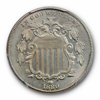 1880 5C SHIELD NICKEL PCGS MINT STATE 62 UNCIRCULATED CAC APPROVED POP 1