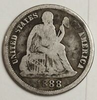 1888-S SEATED LIBERTY DIME.  UNCLEANED V.G.  130978