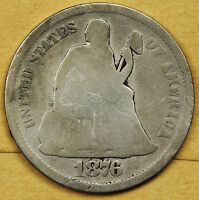 1876-S SEATED LIBERTY DIME.  CIRCULATED.  92765