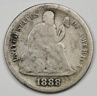 1888-S SEATED LIBERTY DIME.  G.-V.G.  107202