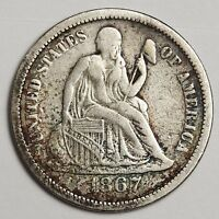 1867-S SEATED LIBERTY DIME.  NATURAL V.F.  110084